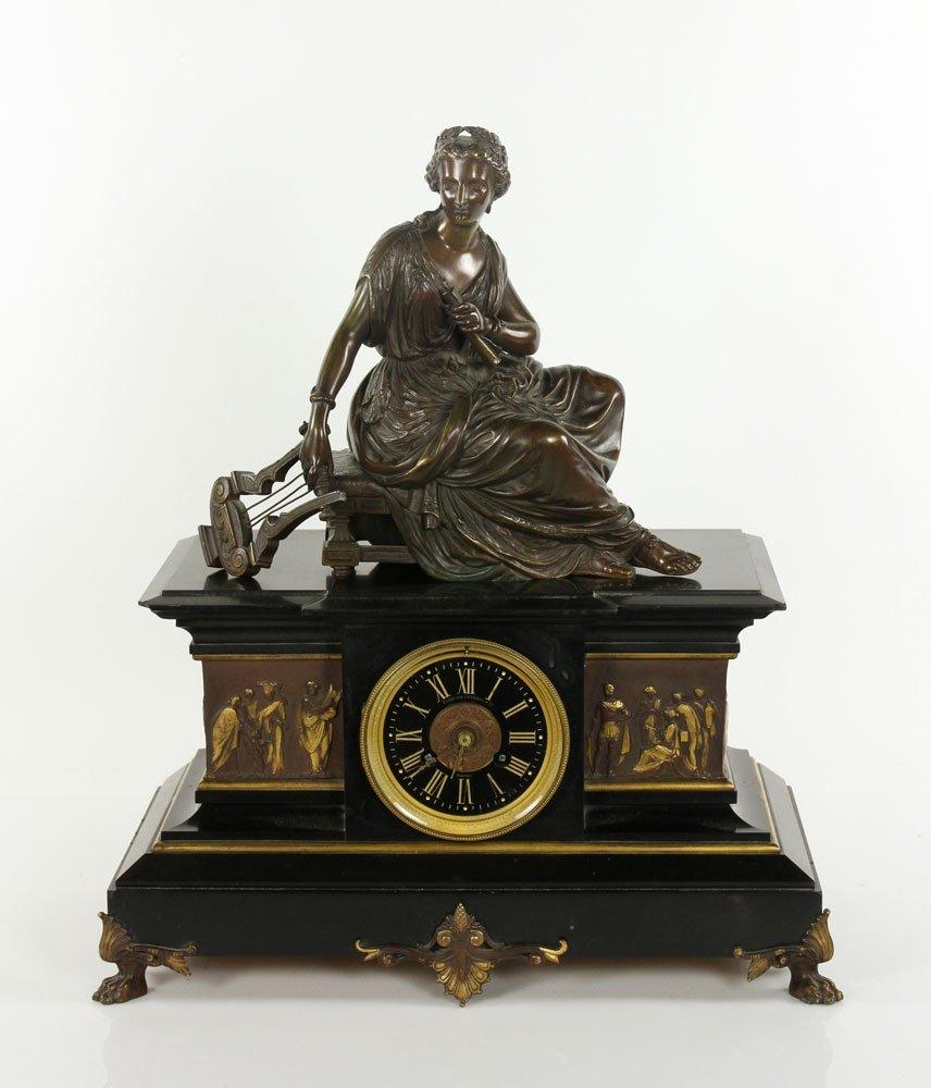 19th C. Bronze Figural Clock