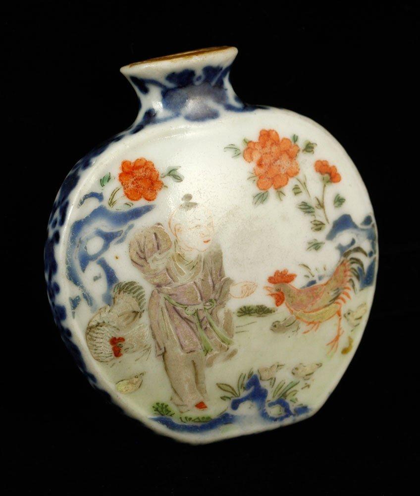 Chinese Doucai Glazed Porcelain Snuff Bottle
