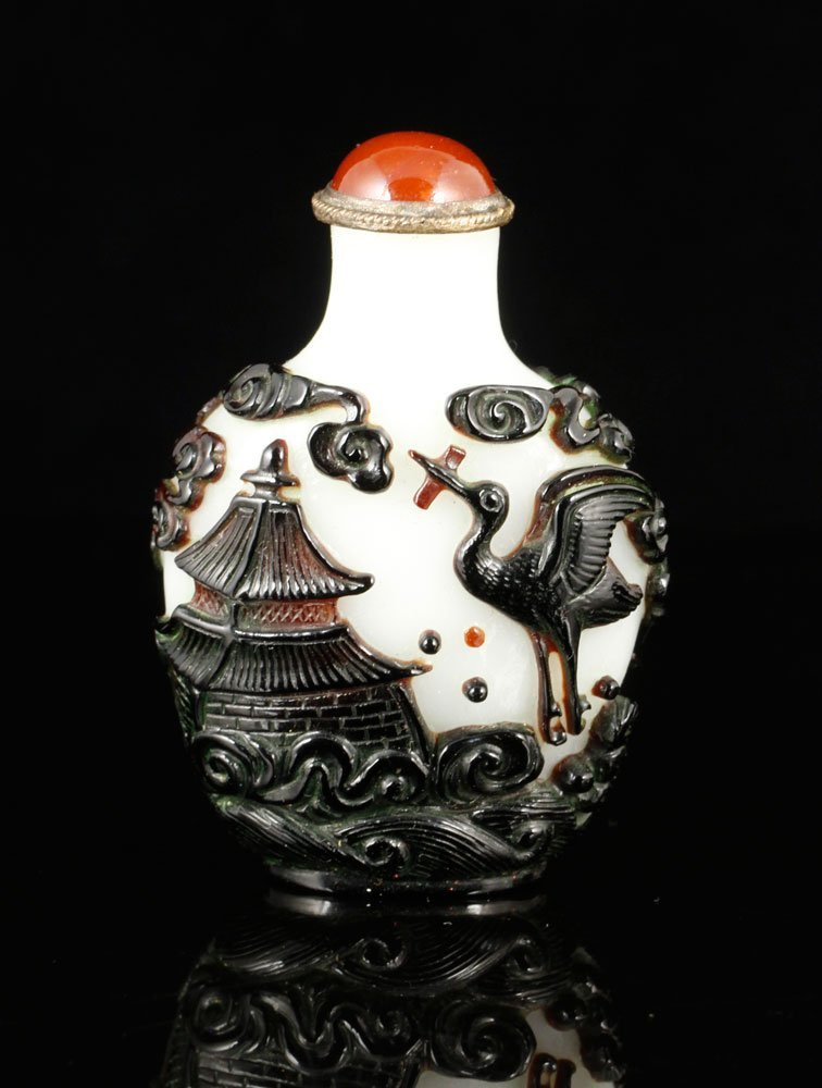 Chinese Multicolored Carved Peking Glass Snuff Bottle