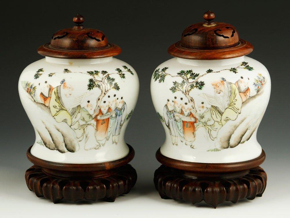 Pr. Famille Rose Porcelain Jars