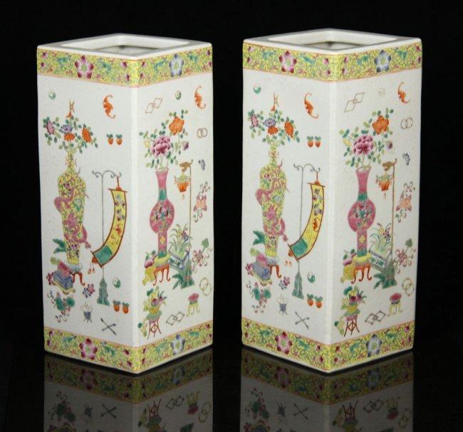 Pr. Chinese Squared Hat Vases