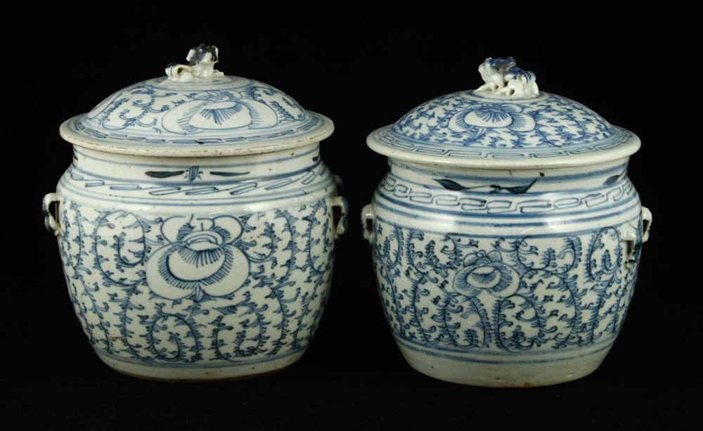 Pr. Chinese Blue and White Covered Jars