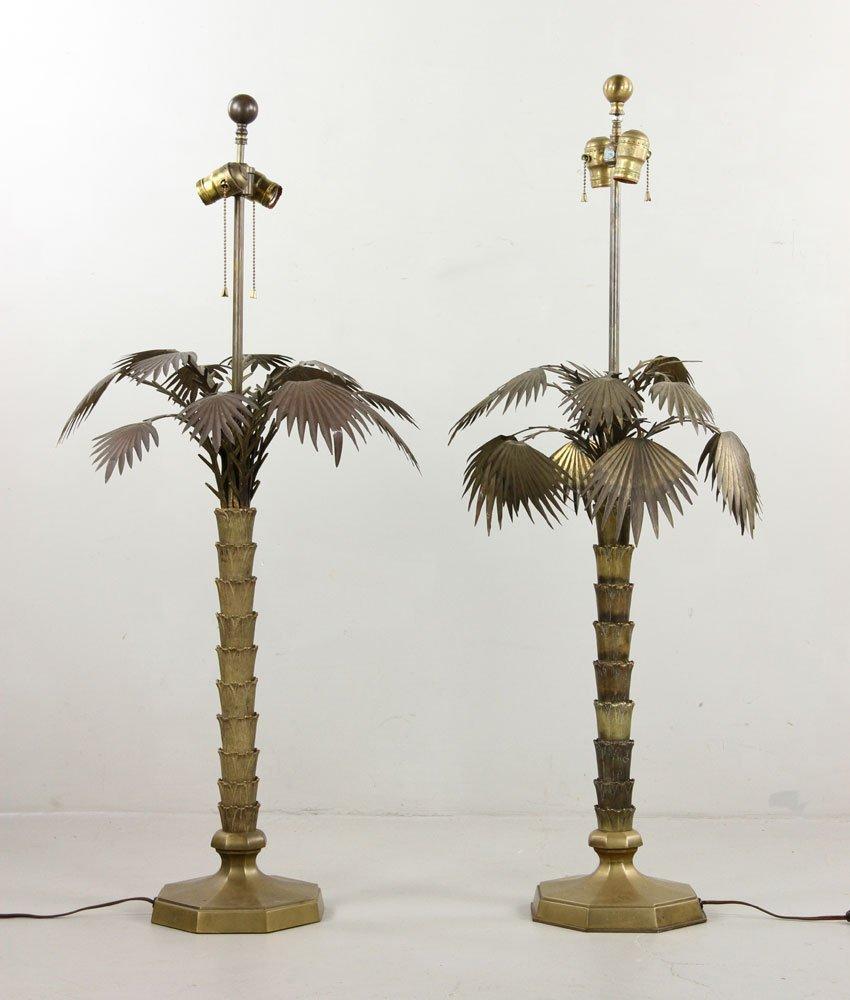 Pr. Brass Palm Tree Lamps