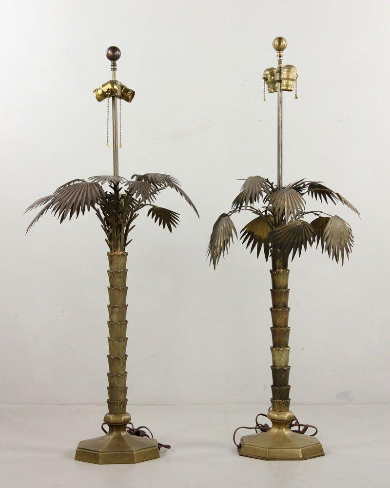 Pr. Brass Palm Tree Lamps - 4