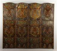 19th20th C Continental Painted Leather Screen
