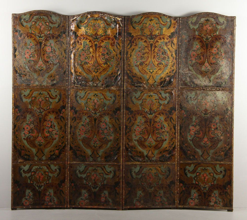 19th/20th C. Continental Painted Leather Screen