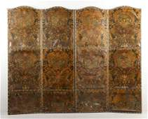 19th20th C Tooled Leather Screen