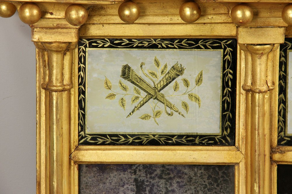 Early 19th C. Federal Gilt Wood Overmantle Mirror - 2