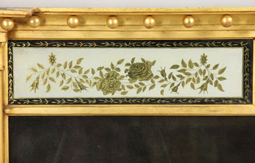 Early 19th C. Federal Gilt Wood Overmantle Mirror - 3