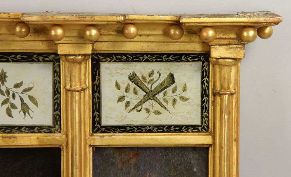 Early 19th C. Federal Gilt Wood Overmantle Mirror - 4
