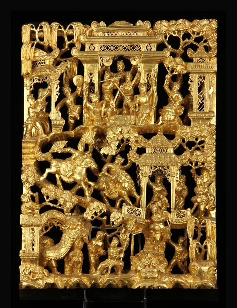 Chinese Opera Story Plaque, Gilt Wood