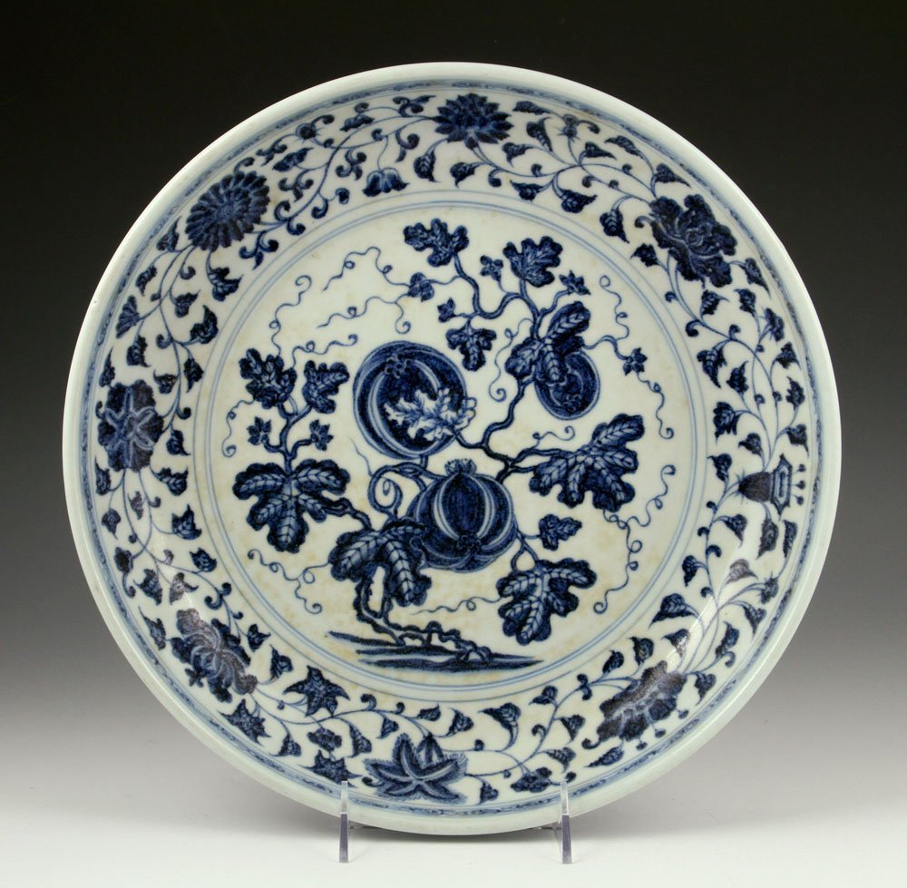 Chinese Ming Style Blue and White Plate, Porcelain