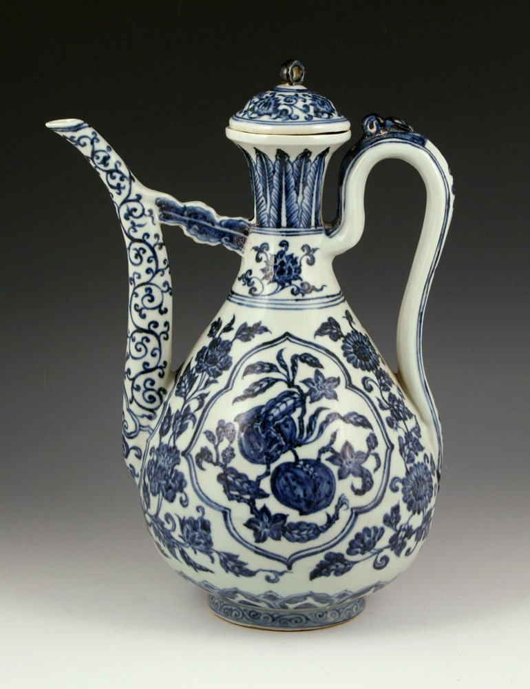 20th C. Chinese Blue and White Wine Pot, Porcelain