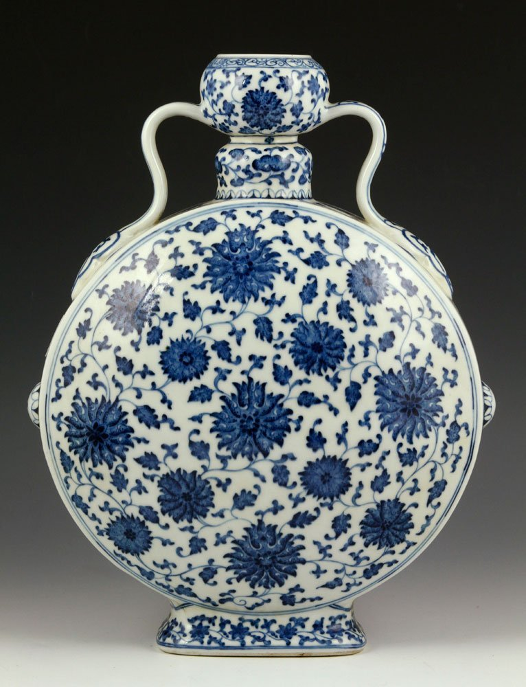 Chinese Blue and White Moon Vase, Porcelain
