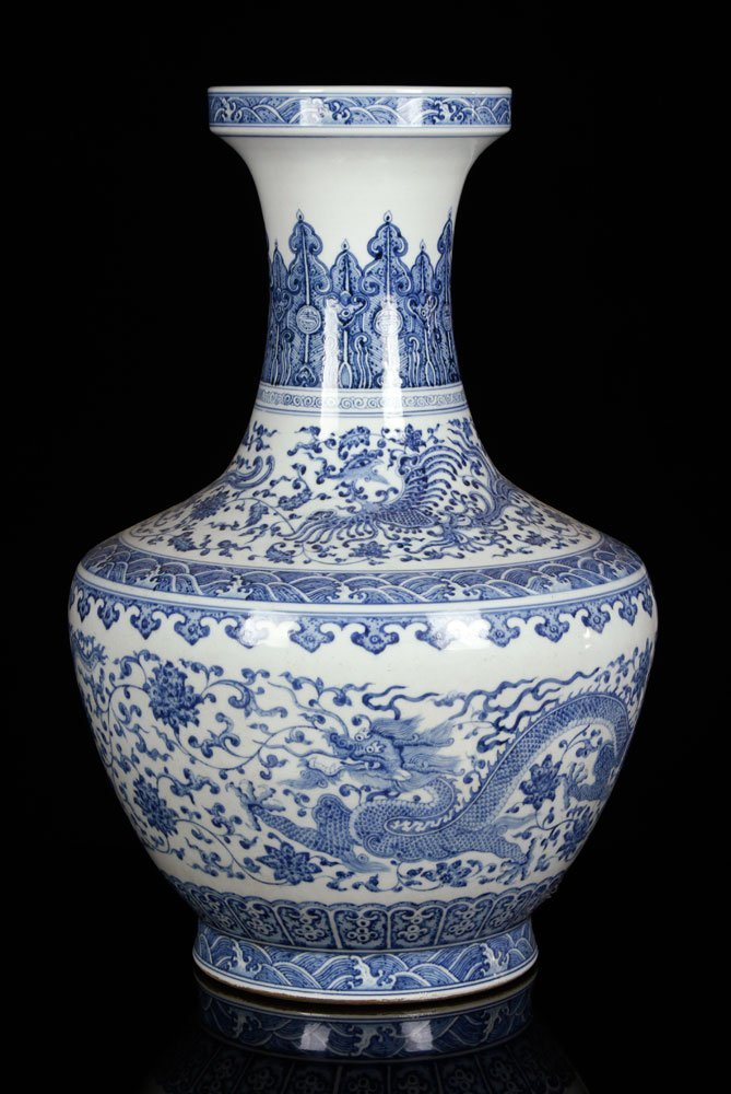 Later 19th C. Chinese Blue and White Zun Vase,