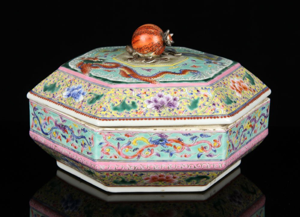 20th C. Chinese Famille Rose Box, Porcelain