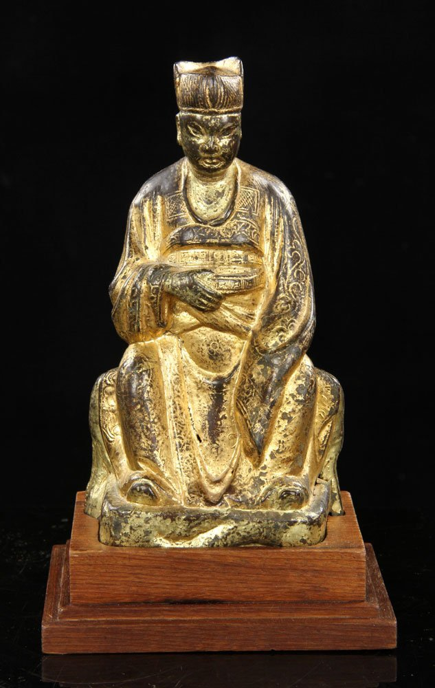 Chinese Ming Dynasty Figure, Gilt Bronze