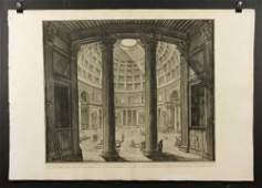 "Piranesi, ""Veduta Interna del Panteon,"" Etching"
