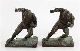 Pr Japanese Bronze Figural Bookends