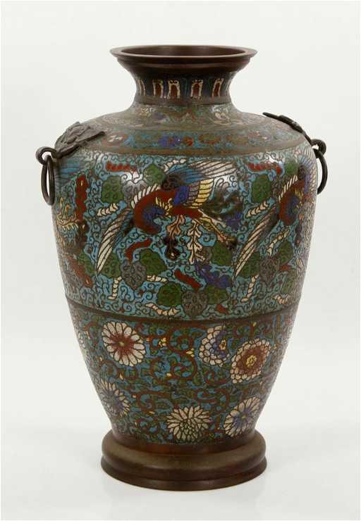 Antique Chinese Bronze Champleve Vase