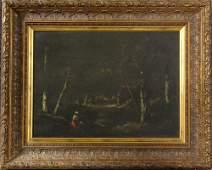 19th C., de la Pena, Interior Wood Scene, O/C