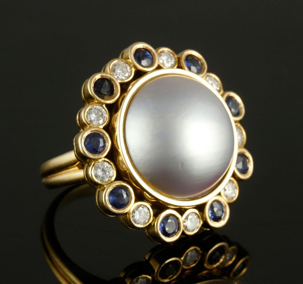 14K Diamond, Sapphire and Pearl Ring