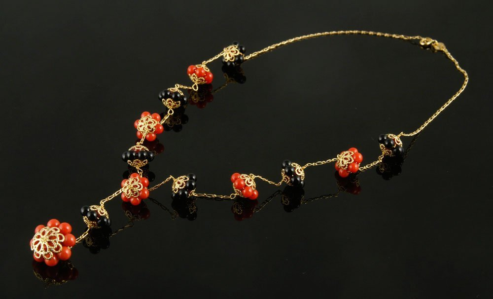 18K Gold, Coral and Onyx Necklace