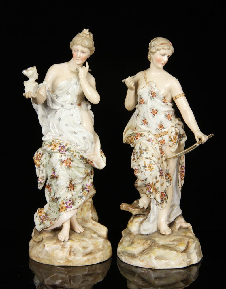 Pair of Porcelain Muses