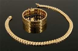 18K Yellow Gold Bracelet and Necklace Suite