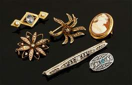 Collection of 14K Yellow and White Gold Pins