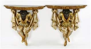 Pr. Italian Gilt Wood Bracket Shelves
