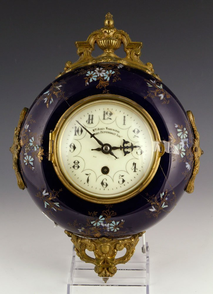 Mareschal, French Enameled Clock