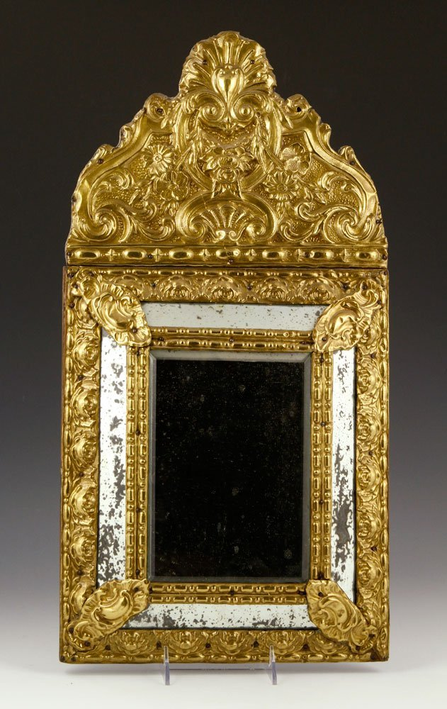 19th C. Courting Mirror, Brass