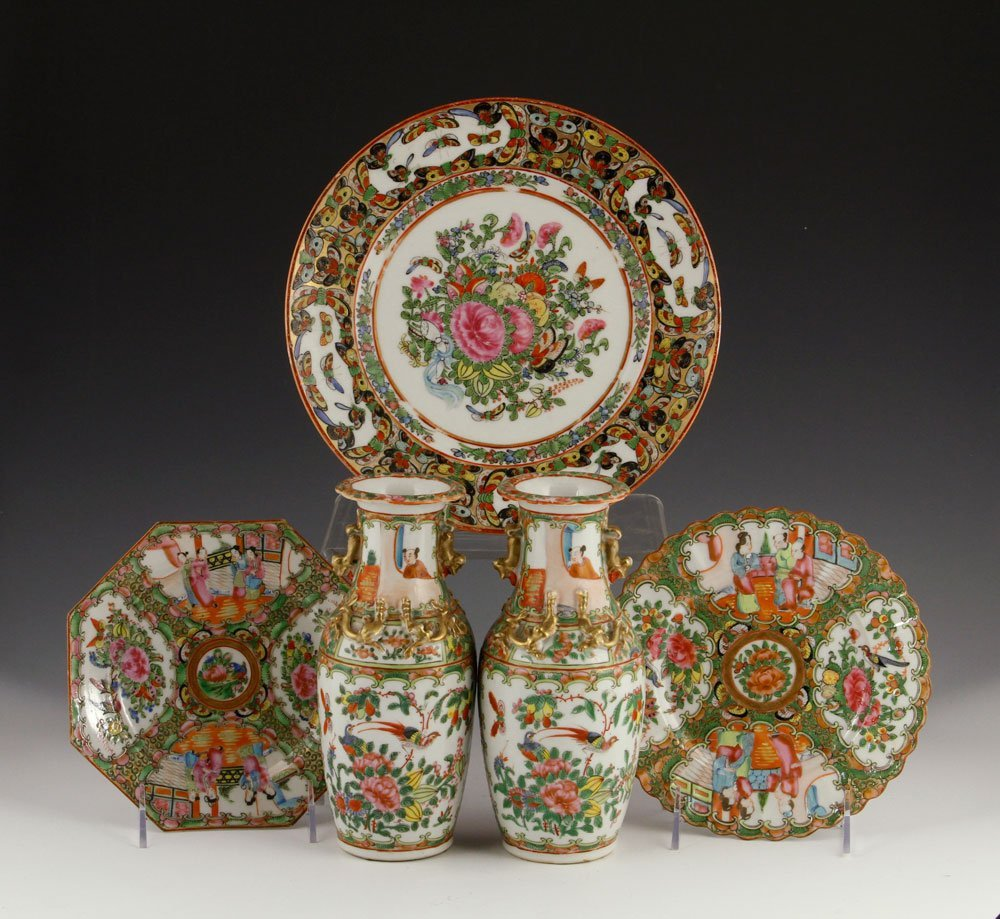 Lot of Chinese Rose Medallion Porcelain