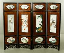 Chinese Wood and Porcelain Screen