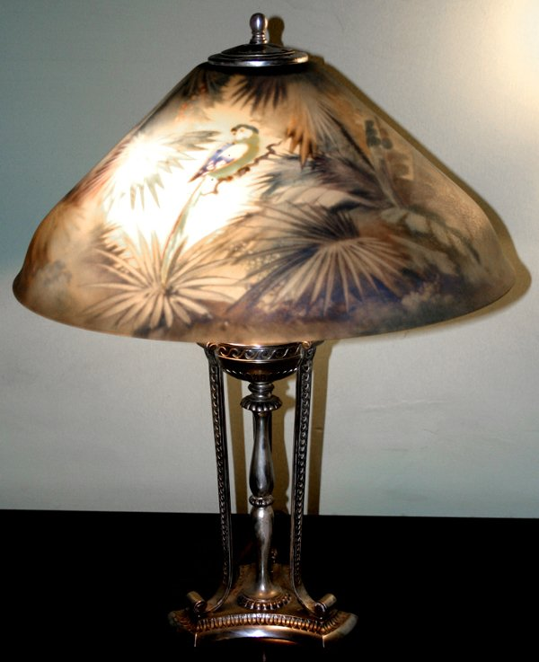 2: PAIRPOINT REVERSE PAINTED PARROT LAMP