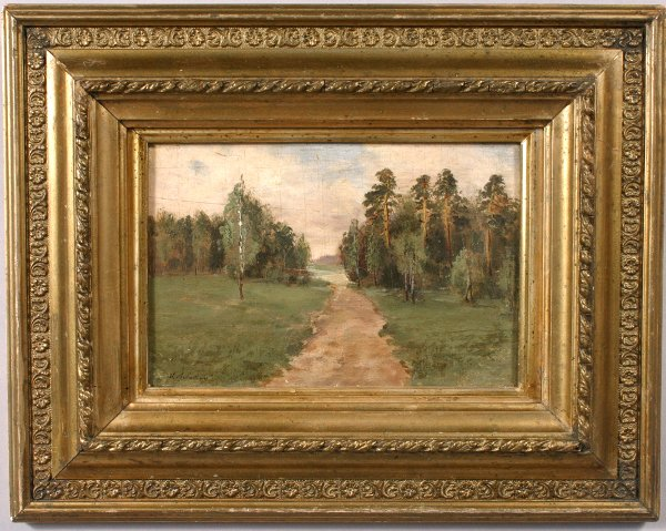 7: SIGNED ISAAC LEVITAN OIL ON CANVAS BOARD