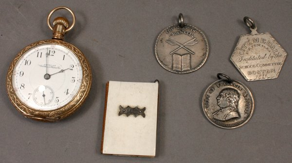 232: LOT OF FIVE 19TH C. MEDALS, BOOK, WALTHAM WATCH