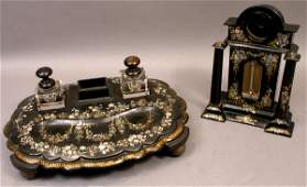 268: MOTHER OF PEARL INLAID INKWELL & WATCH HOLDER DESK