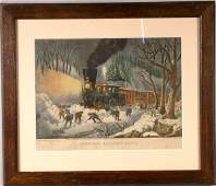 500 CURRIER AND IVES RAILROAD SCENE
