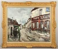 """Herbo, """"Le Café Leroy,"""" Oil On Canvas"""