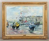 "Herbo, ""Port Scene,"" Oil On Canvas"