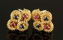 Pr. 14K Gold, Sapphire and Ruby Earrings