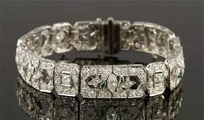 Platinum Diamond and Emerald Bracelet