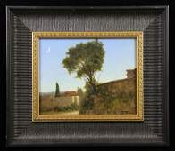 "Davis, ""Back Street, Pienza, Italy,"" Oil on Masonite"