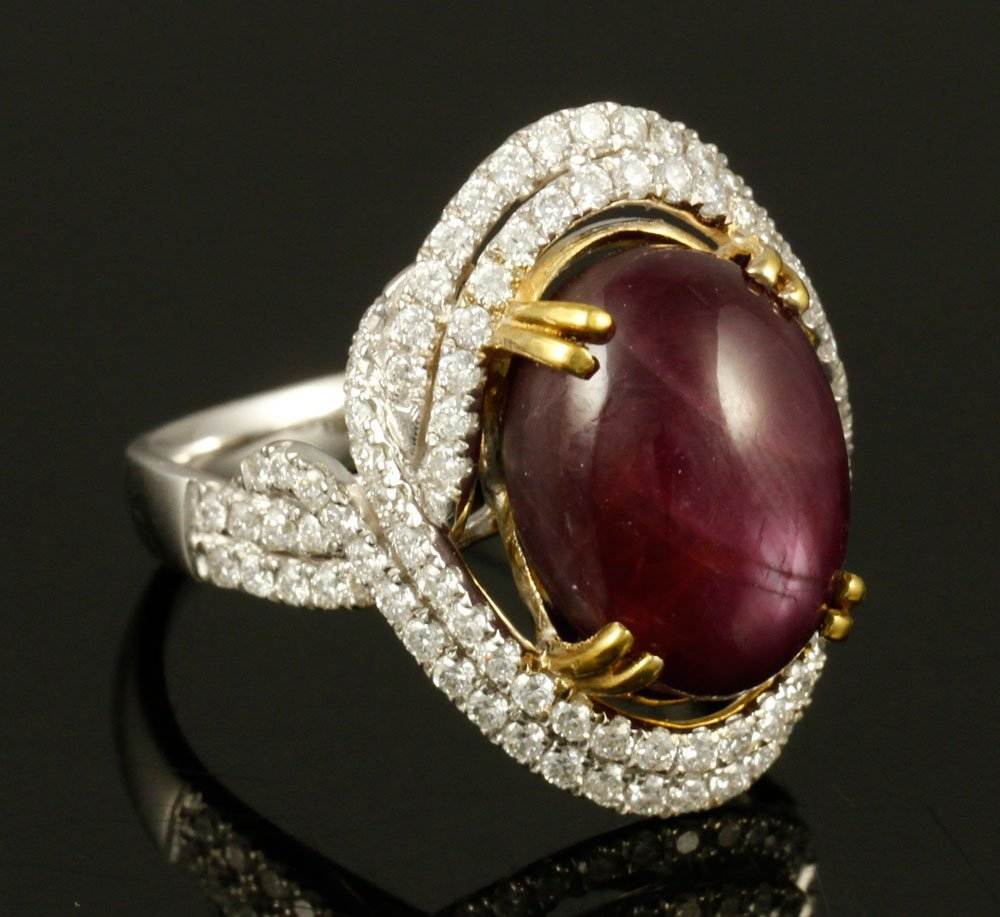 14K Gold, Star Ruby and Diamond Ring