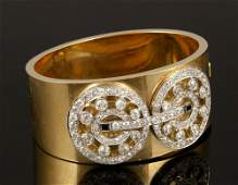 14K Gold Diamond and Sapphire Cuff Bracelet