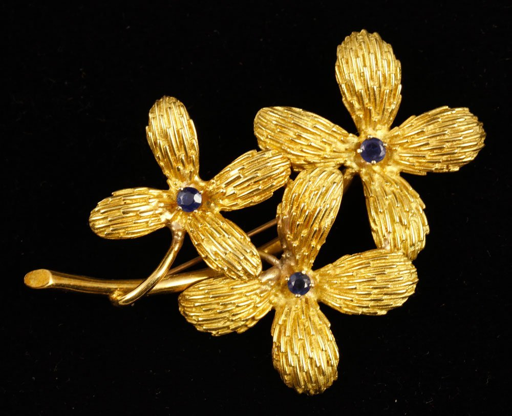 18K Yellow Gold and Sapphire Brooch