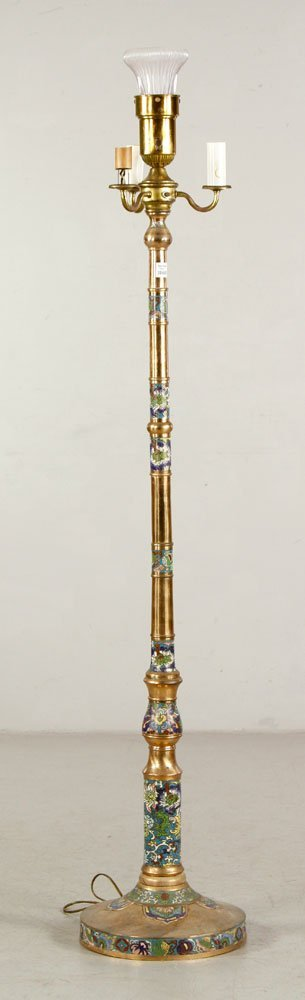Chinese Cloisonne Mounted Red Brass Pole Lamp