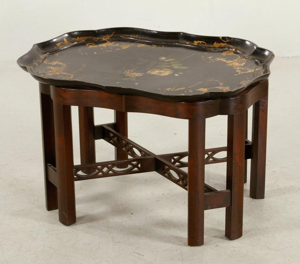 19th C. Chinese Chippendale Style Stand with Tray
